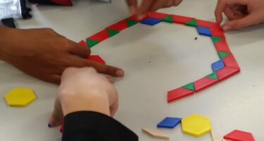 Coloured geometrical shapes, rods and fraction circles are great tools to make maths engaging to students .