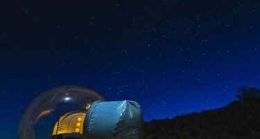 …and astrotourism towns could provide glamping accommodation. Bubble tents anyone? . Credit: Bubble tent Australia