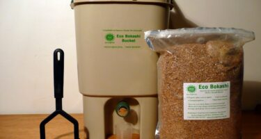 If you want to get fancy, Bokashi bins rely on fermentation … . Credit: Wikimedia commons